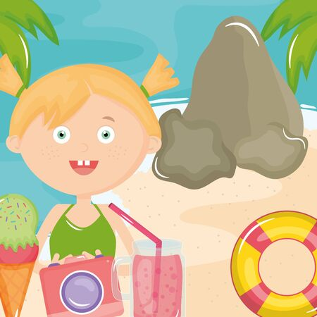 cute little girl with swimsuit and camera on the beach vector illustration design