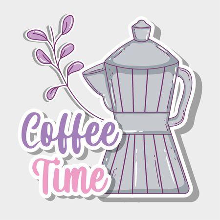 moka pot coffee time sketch flat design vector illustration