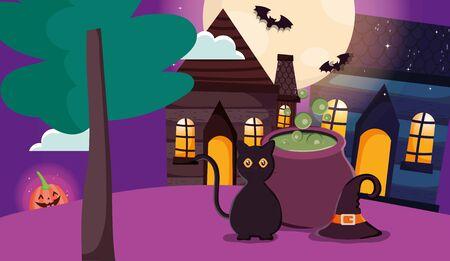 black cat cauldron hat pumpkin lantern trick or treat - happy halloween vector illustration