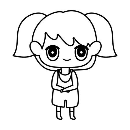 kids, cute little girl anime cartoon character vector illustration thick line