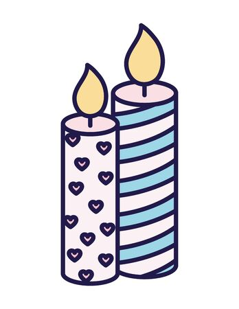 happy valentines day burning candles love hearts decoration ribbon