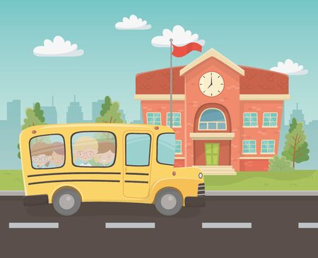 school building and bus with kids in the landscape scene vector illustration design