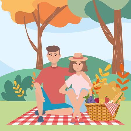 Couple of woman and man having picnic design Ilustracja