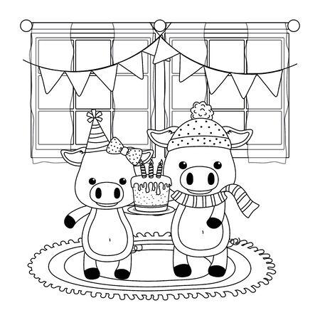 Cartoons design, Animal happy birthday celebration decoration and surprise theme Vector illustration