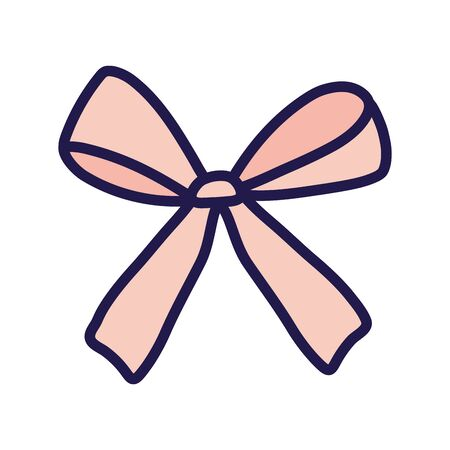 pink gift bow decoration ribbon icon on white background vector illustration