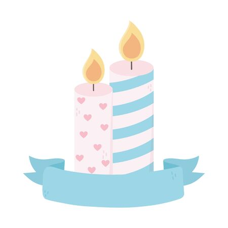 happy valentines day burning candles love hearts decoration ribbon vector illustration