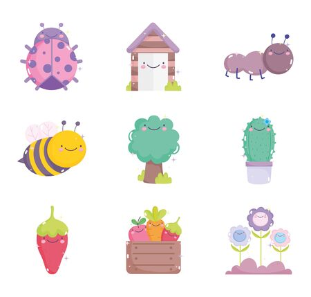 kawaii gardening cartoon characters tools collection vector illustration Ilustracja
