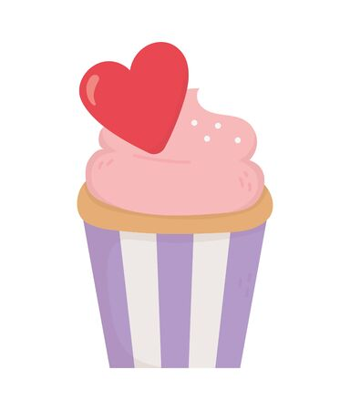 happy valentines day, sweet cupcake with red heart romantic celebration vector illustration  イラスト・ベクター素材