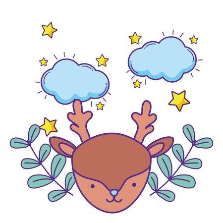 Isolated reindeer cartoon design vector illustration