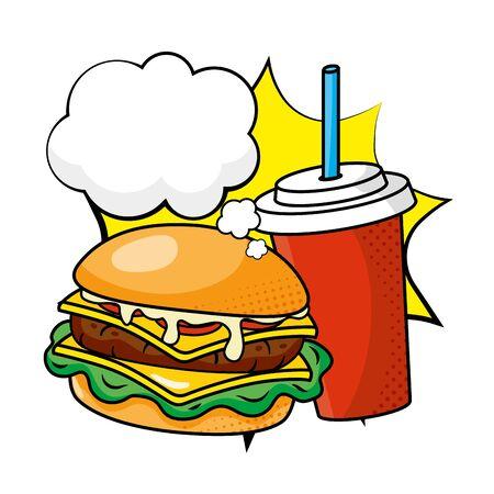 hamburger and soda vector illustration Ilustracja