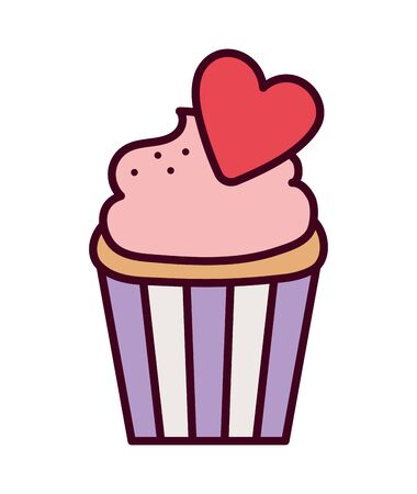 happy valentines day, sweet cupcake with red heart romantic Çizim