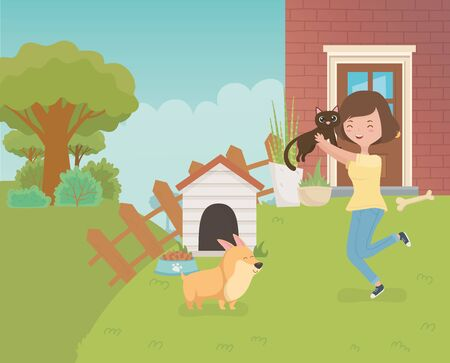 woman with cute little cat and dog in the house garden vector illustration design