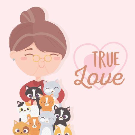old woman with many cats true love vector illustration