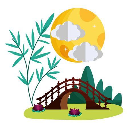China bridge design, Culture asia traditional art famous oriental and landmark tratheme Vector illustration