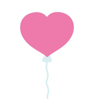 happy valentines day, cute balloon shaped heart celebration vector illustration