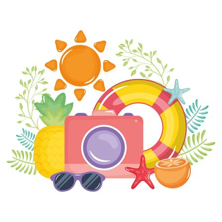 camera photographic with float lifeguard vector illustration design