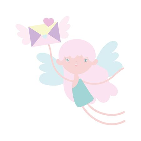 happy valentines day, flying cute cupid with envelope wings message celebration vector illustration