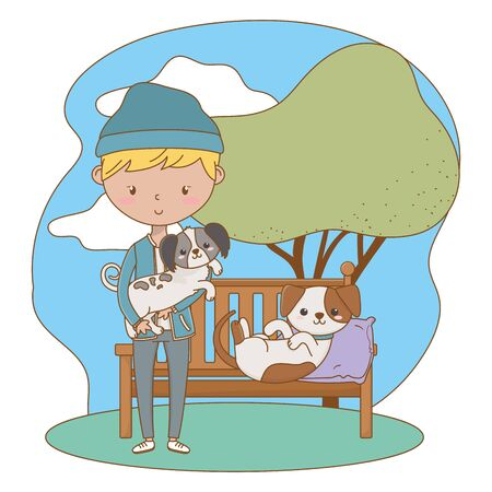Boy with dogs cartoons design, Mascot pet animal nature cute and puppy theme Vector illustration Vectores