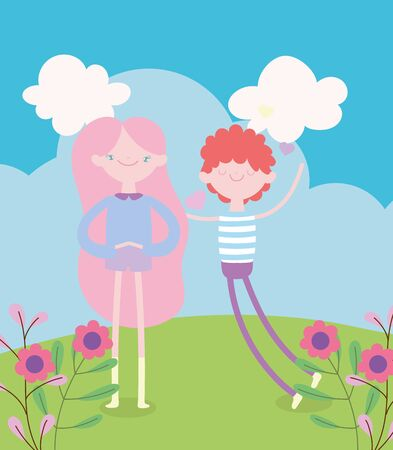 happy valentines day, in love cute couple in the grass with flowers vector illustration Ilustrace