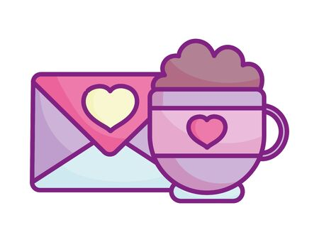 happy valentines day, cup chocolate envelope message heart romantic celebration vector illustration Archivio Fotografico - 138043621