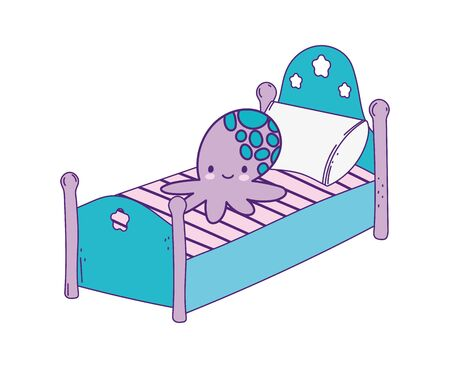 cute bed with pillow and octopus toy vector illustration