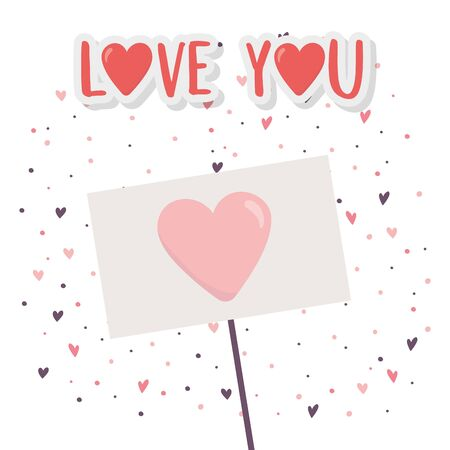 happy valentines day, signboard with heart love hearts background celebration vector illustration