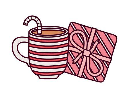 Cup chocolate and striped gift box decoration celebration vector illustration Archivio Fotografico - 138043642
