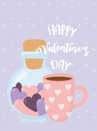happy valentines day, bottle glass and coffee cup with hearts celebration vector illustration