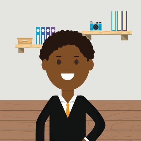 afro american business man office shelves books camera vector illustration
