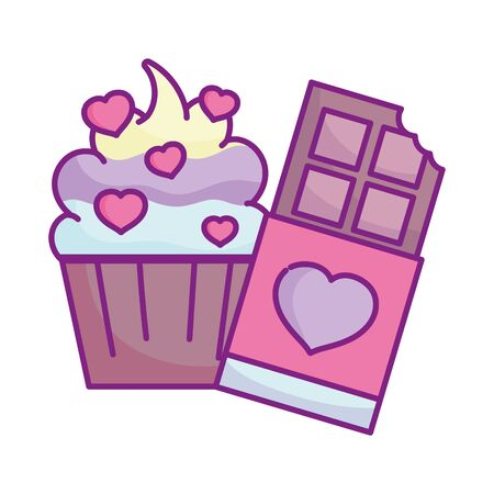 happy valentines day, sweet cupcake chocolate bar hearts love decoration celebration vector illustration Çizim