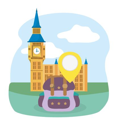big ben london landmark rucksack tourist vacation travel vector illustration