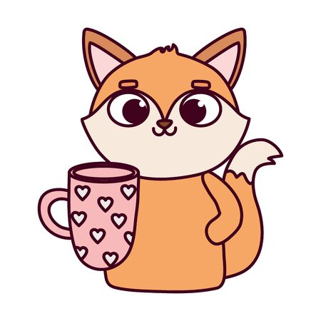 happy valentines day, cute fox with coffee cup with hearts Archivio Fotografico - 138043986