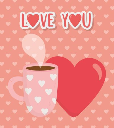happy valentines day, hot coffee cup and red heart love celebration vector illustration Archivio Fotografico - 138043079