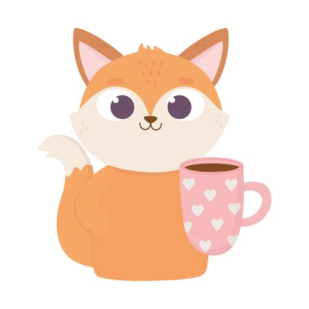 happy valentines day, cute fox with coffee cup with hearts celebration vector illustration Archivio Fotografico - 138043493