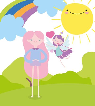 happy valentines day, flying little cupid and cute girl rainbow sun vector illustration Ilustrace
