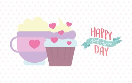happy valentines day, sweet cupcake and coffee cup dots background celebration vector illustration Archivio Fotografico - 138043219