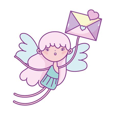 happy valentines day, flying cute cupid with envelope message celebration vector illustration