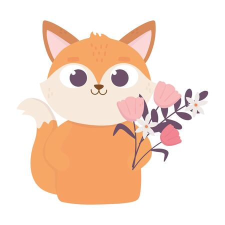 happy valentines day, cute fox cartoon with flowers decoration