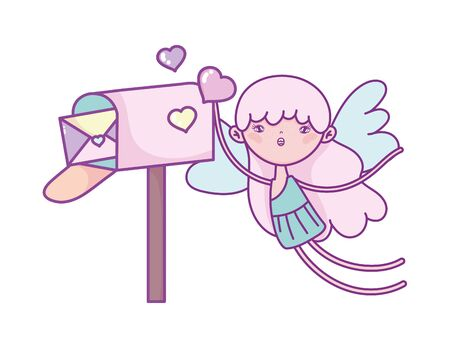 happy valentines day, cute cupid with hearts and mailbox message