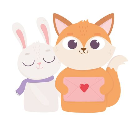 happy valentines day, cute fox with envelope letter and rabbit heart decoration