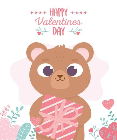 happy valentines day, cute bear with gift hearts love foliage
