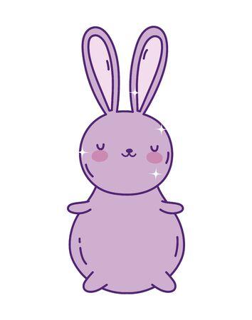 cute rabbit cartoon character toy icon vector illustration