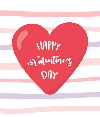 happy valentines day, lettering red heart over striped background celebration vector illustration  イラスト・ベクター素材