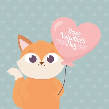 happy valentines day, cute fox with balloon shaped heart love