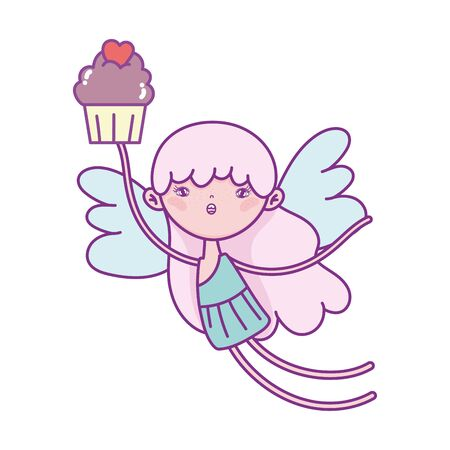 happy valentines day, cute cupid flying with sweet cupcake