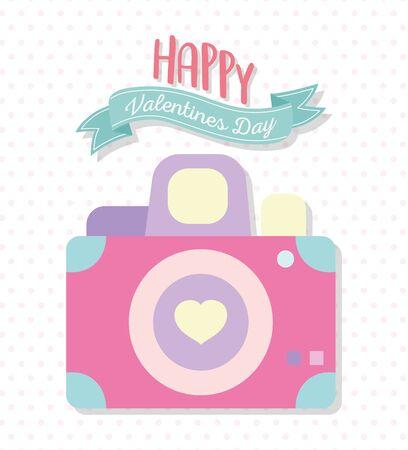 happy valentines day, photo camera heart love icon