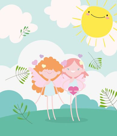 happy valentines day, cute cupids with hearts love romantic meadow foliage nature Stock Illustratie