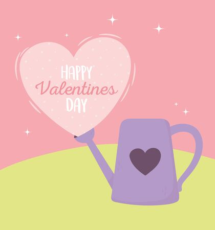 happy valentines day, watering can pink heart lettering