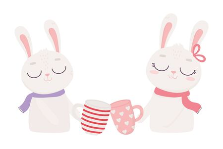 happy valentines day, cute couple bunnies with coffee cups Archivio Fotografico - 138042961