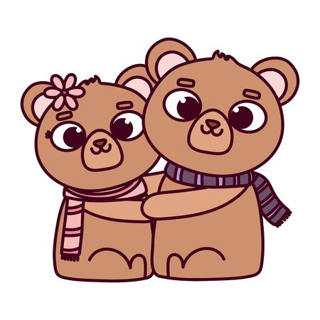 happy valentines day, cute couple bear with scarves love